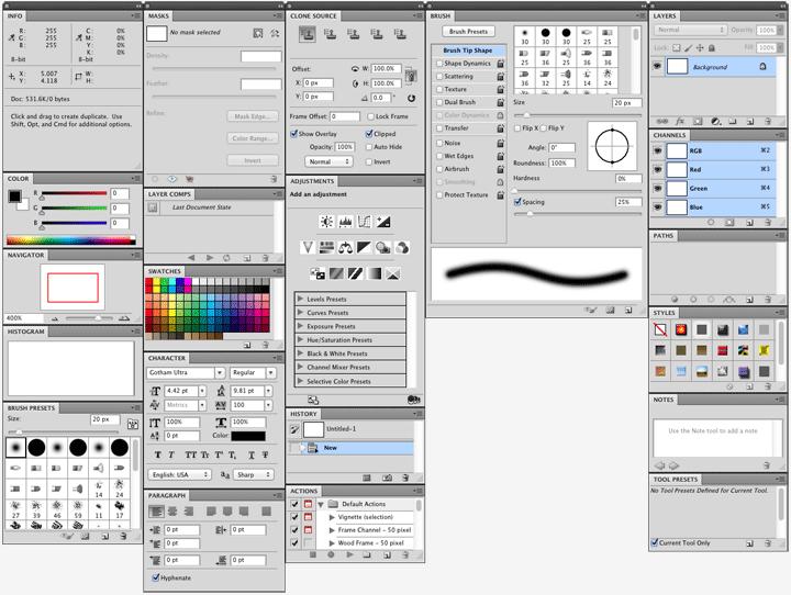 Adobe Photoshop Palettes