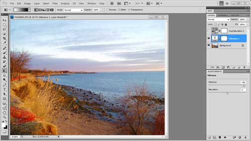 Difference Between Vibrance vs Saturation in Photoshop CS5.5